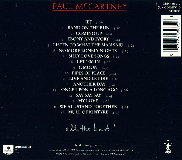 All The Best Official Album By Paul McCartney
