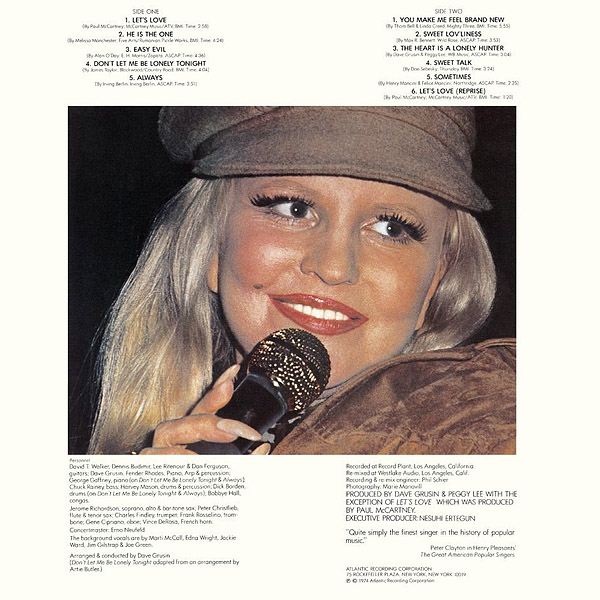 Lets Love Official Album By Peggy Lee The Paul Mccartney Project