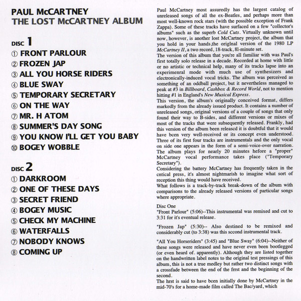 The Lost McCartney Album (Unofficial album) by Paul