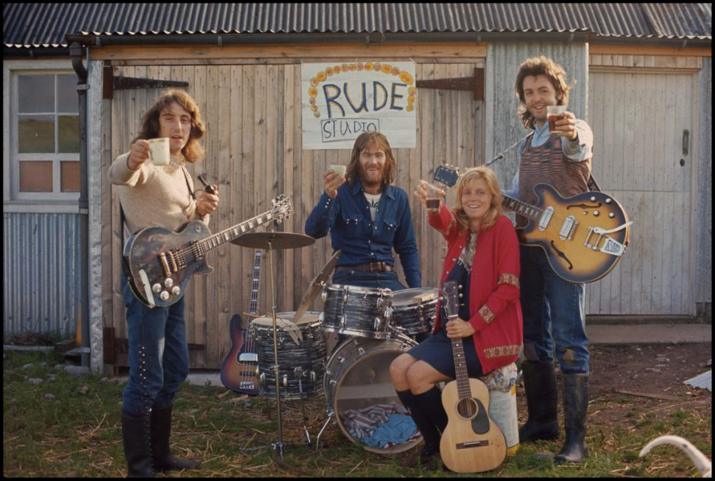 Wings outside Rude Studio, Scotland, 1971