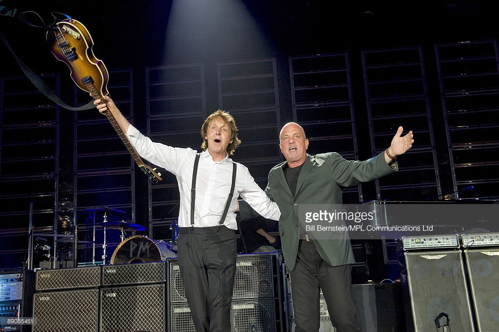 Sir Paul McCartney performs as part of Summer Live '09 at Citi Fields on July 17, 2009 in New York City. He is joined by Billy Joel and perform 'I Saw Her Standing There'.