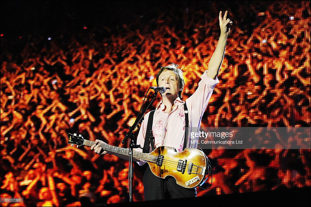 Paul McCartney performs onstage during the 'Friendship First' concert at Ganey Yehoshua Park on September 25, 2008 in Tel Aviv, Israel.