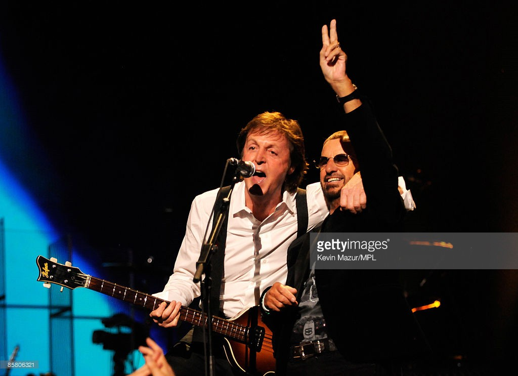 *EXCLUSIVE* Paul McCartney and Ringo Starr perform at the David Lynch Foundation 'Change Begins Within' show at Radio City Music Hall on April 4, 2009 in New York City.