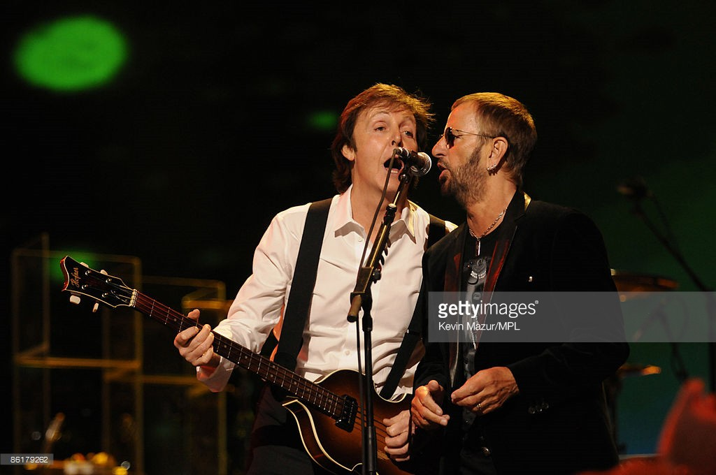 Paul McCartney and Ringo Starr perform during the David Lynch Foundation 'Change Begins Within' show held at the Radio City Music Hall on April 4, 2009 in New York.
