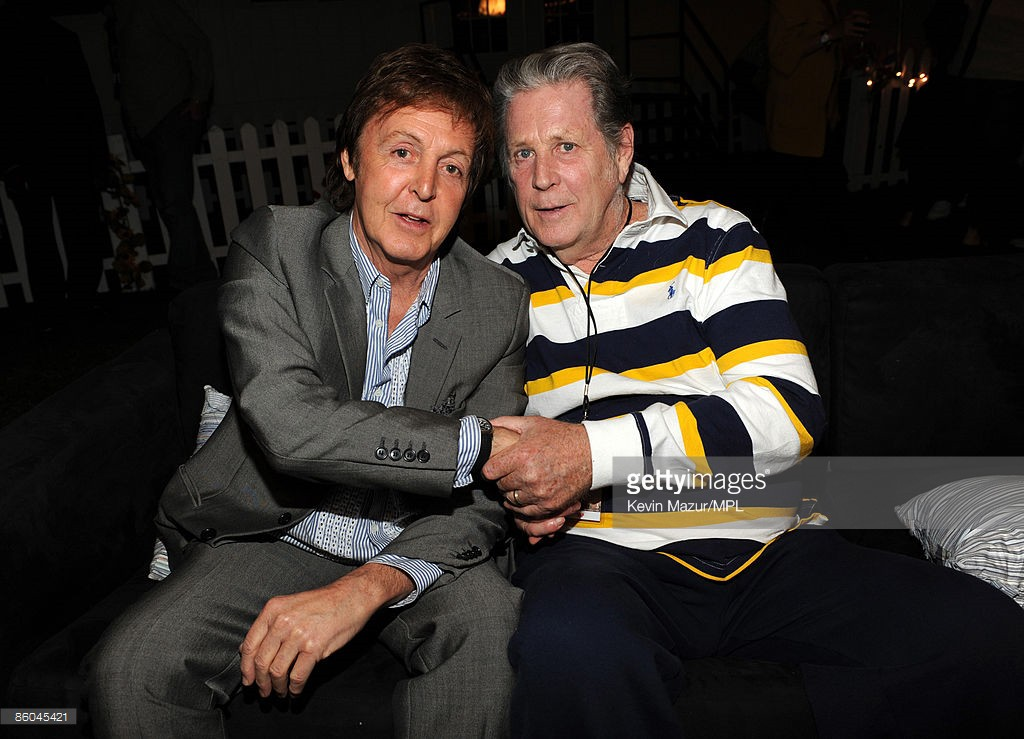 Paul McCartney and Brian Wilson backstage at the Coachella Music and Arts Festival at the Empire Polo Field on April 17, 2009 in Palm Desert, California.