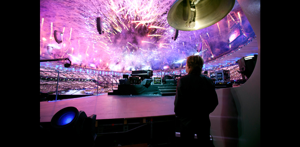 Paul on stage at the Olympic Opening Ceremony rehearsals, London, 27-Jul-12