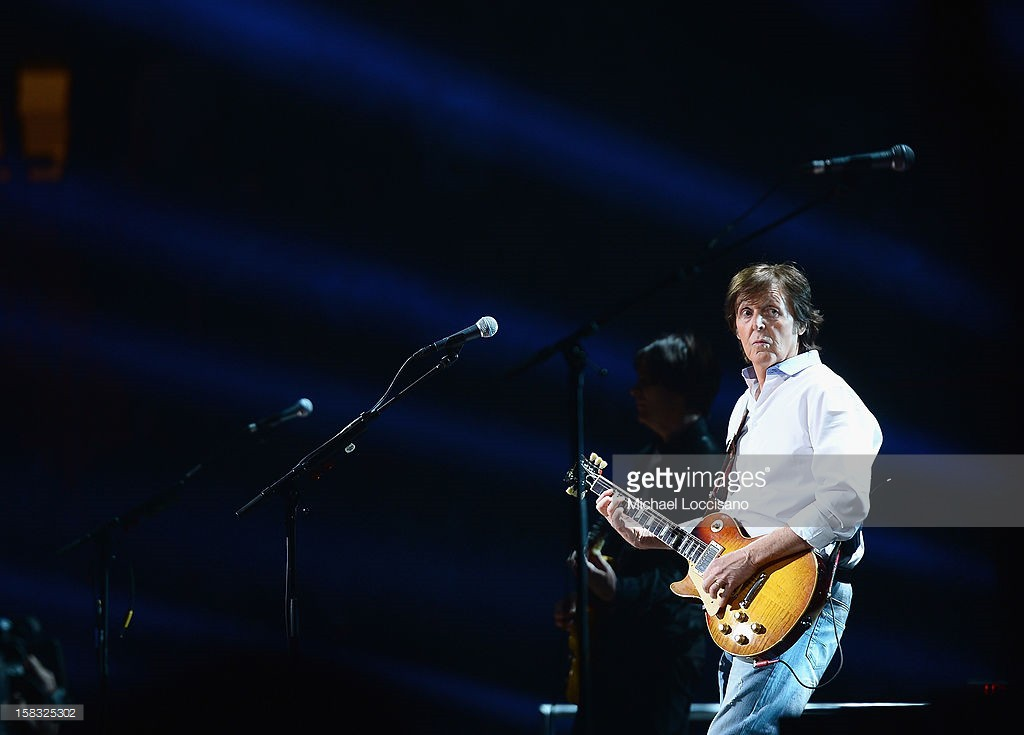 Sir Paul McCartney performs during the '12-12-12' concert benefiting The Robin Hood Relief Fund to aid the victims of Hurricane Sandy presented by Clear Channel Media & Entertainment, The Madison Square Garden Company and The Weinstein Company at Madison Square Garden on December 12, 2012 in New York City.