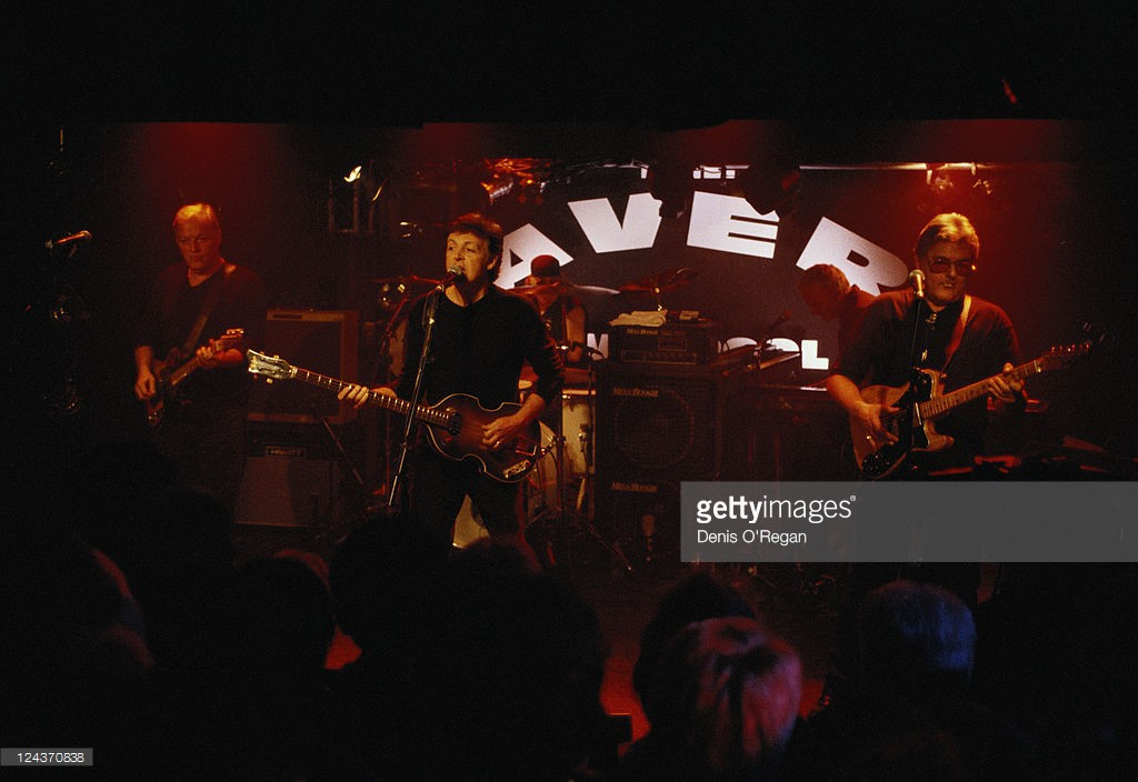 Paul McCartney with his all-star band at their concert at the Cavern Club, Liverpool, 14th December 1999. Left to right; David Gilmour, McCartney, Ian Paice (drums) and Mick Green.