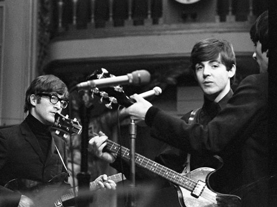 John Lennon, Paul McCartney and George Harrison during a rehearsal at the Playhouse Theatre for 'Saturday Club'.