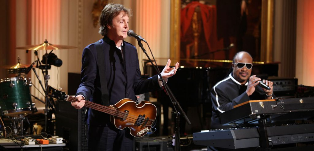 Paul and Stevie Wonder perform 'Ebony And Ivory' at the Gershwin Prize Concert, The White House, Washington DC, 2010