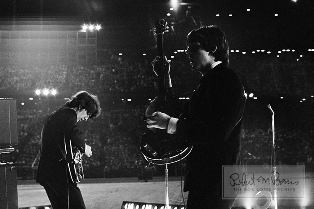 The Beatles perform at Metropolitan Stadium, Bloomington, MN Aug 21, 1965 .Bob Bonis ©The Bob Bonis Archive/Beatlesmn.com.