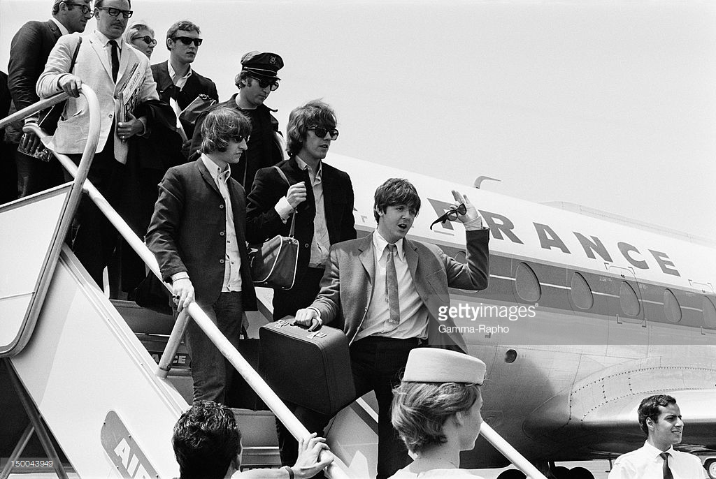 Tbe Beatles arrive at Nice Airport on June 30, 1965 in Nice, France. Credits: Reporters Associés