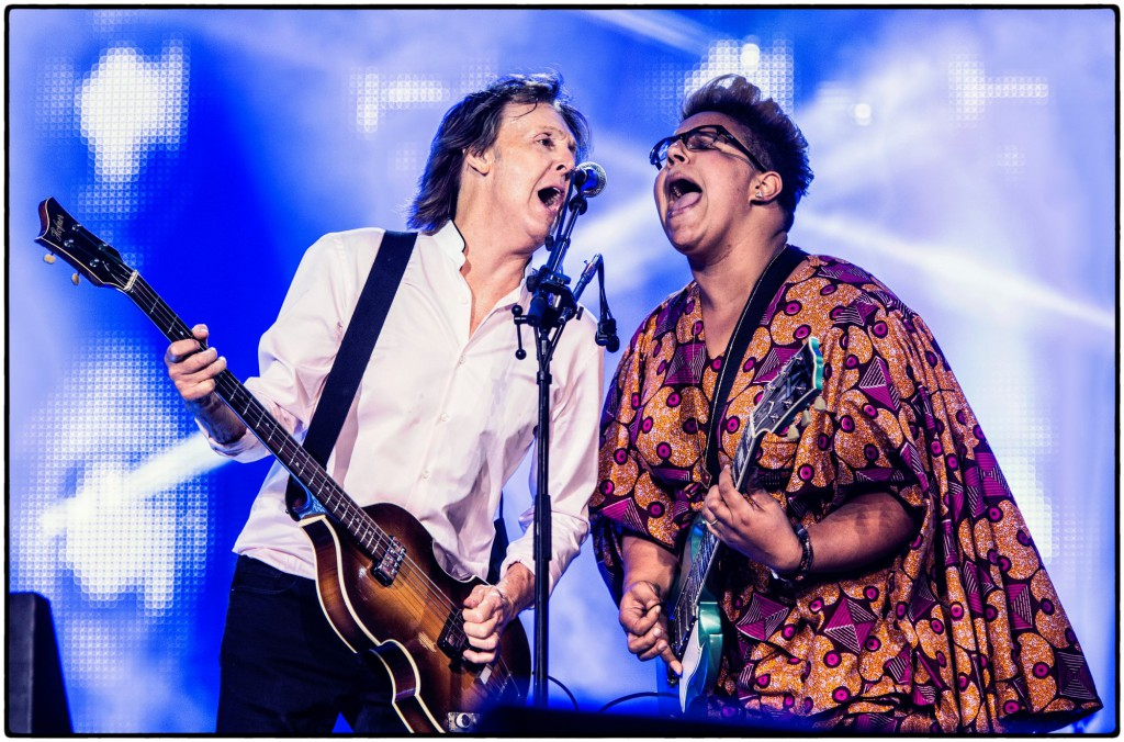 Paul McCartney with the Alabama Shakes' Brittany Howard at Lollapalooza 2015 - Photo by MJ Kim