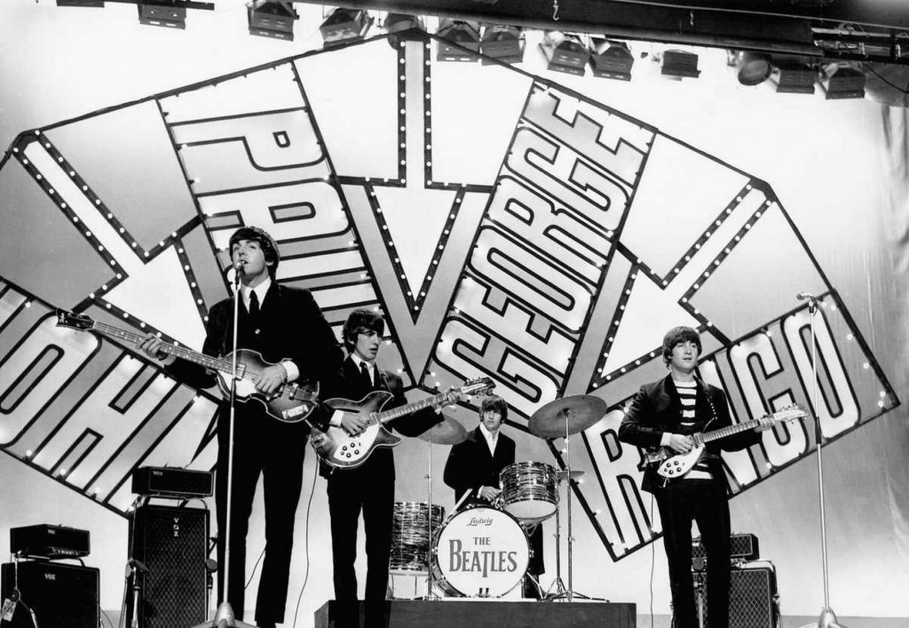 Beatles on stage in Blackpool for their appearnace on the Blackpool Night Out TV show 19 July 1964. Left to right: Paul McCartney, George Harrison, Ringo Starr and John Lennon - http://www.liverpoolecho.co.uk/news/nostalgia/july-6-1957-day-beatles-9594637