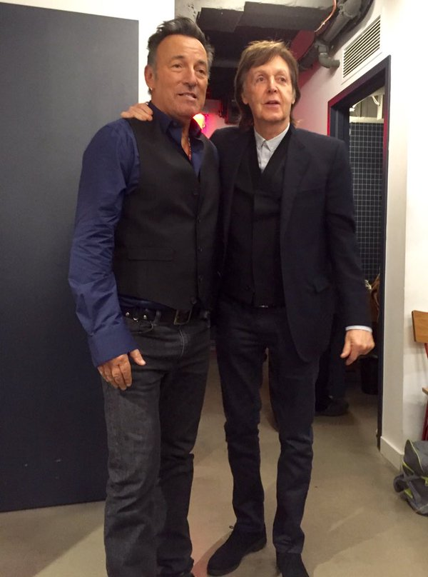 From Twitter: Backstage pre-show with @PaulMcCartney #SpringsteenSNL