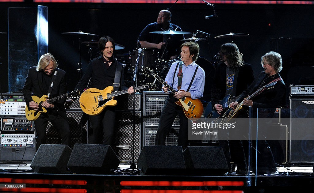 Joe Walsh, Rusty Anderson, Paul McCartney, Dave Grohl and Brian Ray perform onstage at the 54th Annual GRAMMY Awards held at Staples Center on February 12, 2012 in Los Angeles, California.