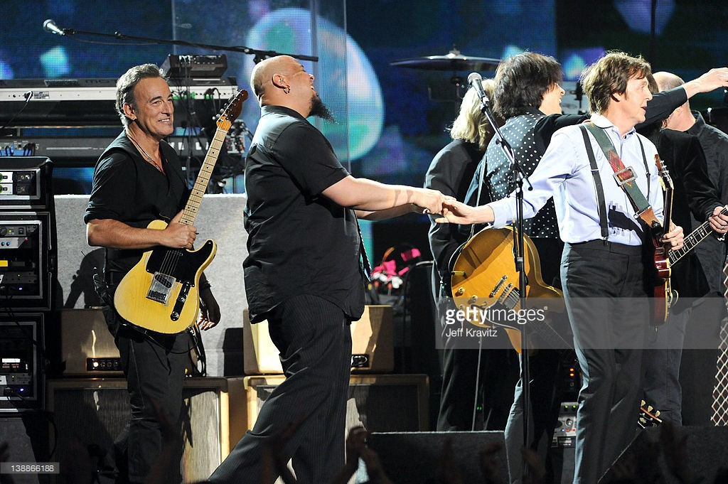 Bruce Springsteen and Paul McCartney perform onstage at the 54th Annual GRAMMY Awards held at Staples Center on February 12, 2012 in Los Angeles, California.