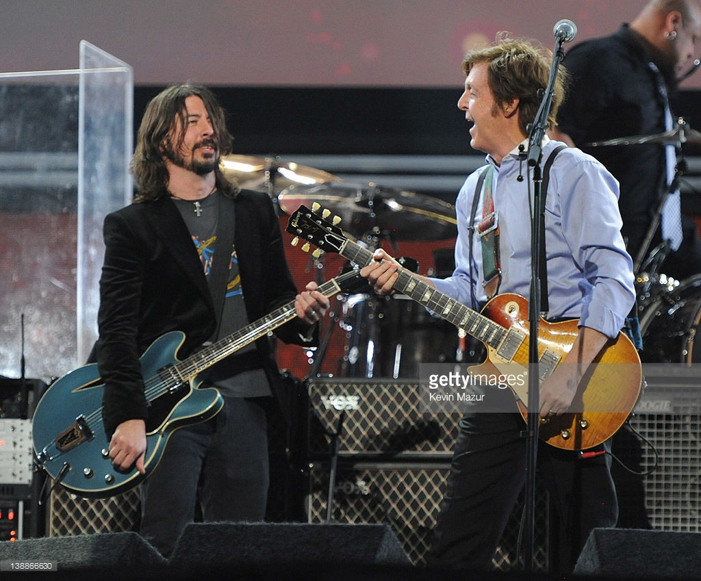 Sir Paul McCartney and Dave Grohl perform onstage at The 54th Annual GRAMMY Awards at Staples Center on February 12, 2012 in Los Angeles, California.