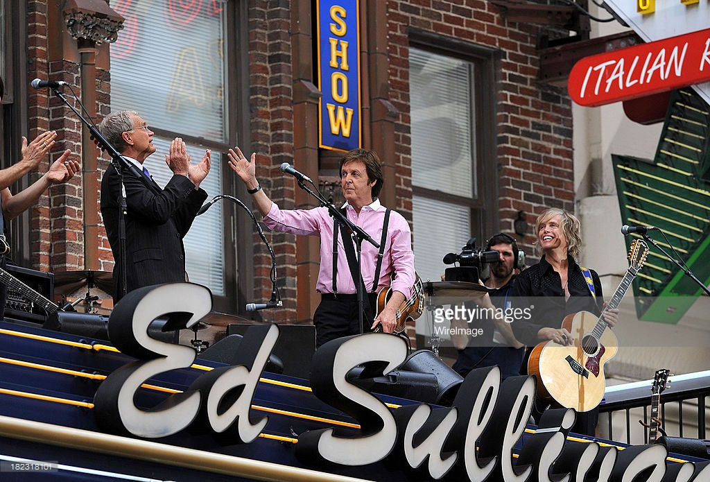 David Letterman and Paul McCartney outside Late Show With David Letterman at the Ed Sullivan Theater on July 15, 2009 in New York City.