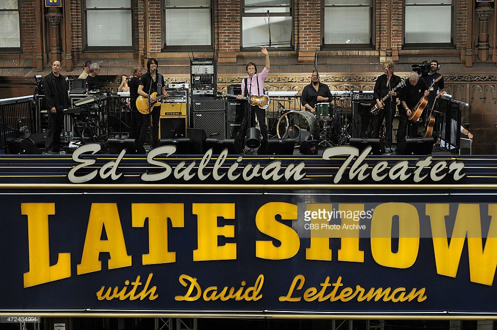 Music legend Paul McCartney performs on the Marquee of the Ed Sullivan Theater when he visits the Late Show with David Letterman Wednesday July 15, 2009 on the CBS Television Network. This photo is provided by CBS from the Late Show with David Letterman photo archive.