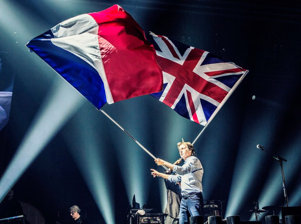 From Facebook: French and British flags flying at Paul's Paris show. #oneonone