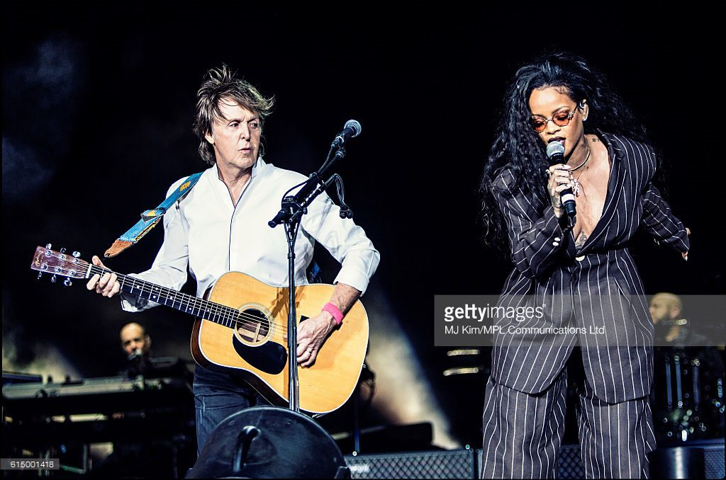 INDIO, CA - OCTOBER 15: Paul McCartney (L) and Rihanna perform on Day 3 of Desert Trip Weekend 2 at the Empire Polo Field on October 15, 2016 in Indio, California. (Photo by MJKIM/MPL Communications via Getty Images)