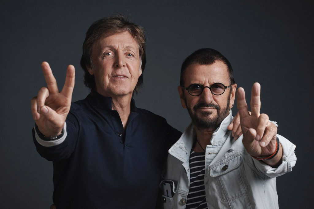 "Paul McCartney and Ringo Starr photographed at a promotional day at Abbey Road Studios on Wednesday 14th September on the eve of the cinematic release of the new Ron Howard documentary ""The Beatles: Eight Days A Week - The Touring Years"". Photo: MPL Communications/Charlie Gray"