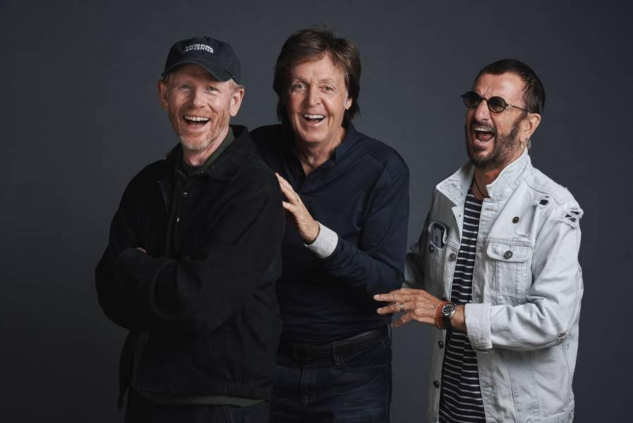"Paul McCartney, Ringo Starr & Ron Howard photographed at a promotional day at Abbey Road Studios on Wednesday 14th September on the eve of the cinematic release of the new Ron Howard documentary ""The Beatles:Eight Days A Week"". Photo credit: MPL Communications/Charlie Gray"